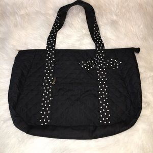 Handbags - NWOT BLACK QUILTED DUFFLE BAG W/ POLKA DOT BOW.